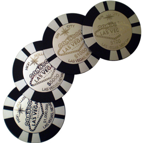 Round set of 4 Poker Chip Las Vegas Design coaster set is silver and Black in Metal.