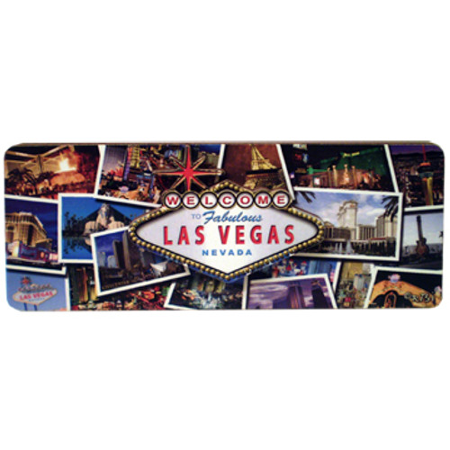 Wooden rectangle magnet with mini Pictures of Las Vegas scenes all over it and the Las Vegas sign in the middle.