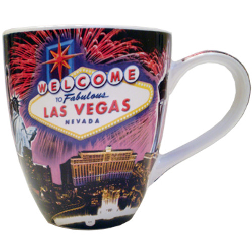 Oversized Las Vegas Souvenir Ceramic mug with a Fireworks collage design and the Las Vegas Sign.