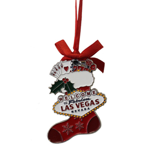 Metal Las Vegas Stocking Shape ornament that also has the Las Vegas Welcome Sign; with a Red Ribbon.