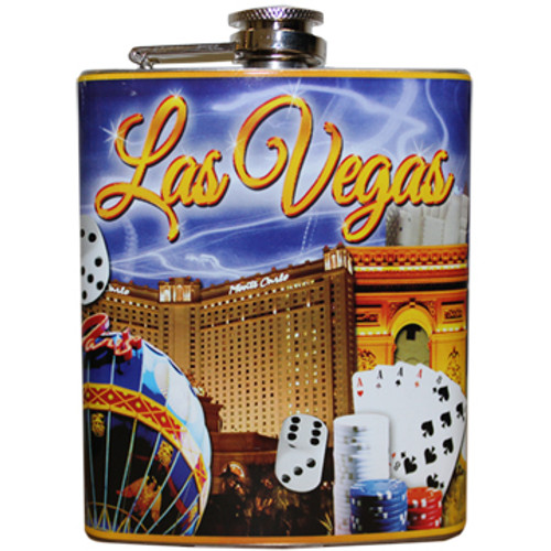 Metal Flask with bold Purple Sky Las Vegas on it. Brightly colored Vegas Casinos and Icons all over within the design.