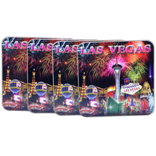 Set of 4 Cork Coaster Set featuring our Popular Fireworks Design with bursts over the Las Vegas Casinos.
