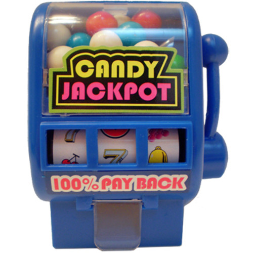 Blue plastic shapped slot machine that dispenses colorful candy when slot handle is pulled.