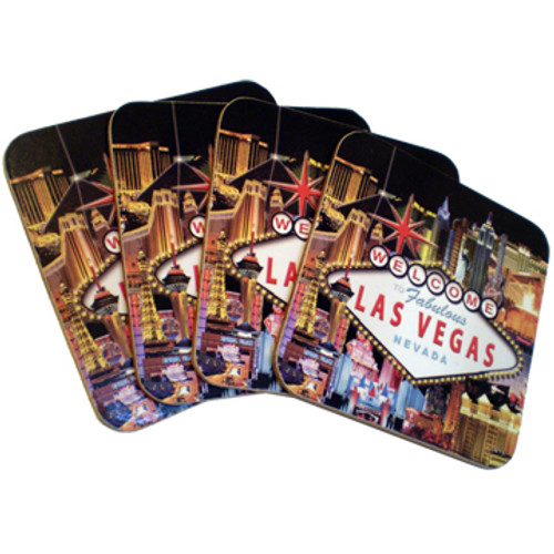 Set of 4 Cork Coaster Set featuring our Popular Hotel Collage Design.