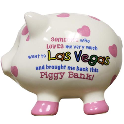 3-D pig shape white with pink dots Las Vegas savings bank.