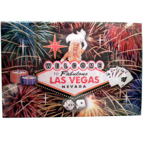 Playing Cards box shows the design on the cards themselves. This design is a black background with a Showgirl behind a colorful welcome to LV sign and gaming icons and fireworks bursting in the background.