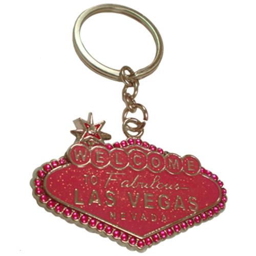 Las Vegas Sign metal Pink Glittery Shape key ring souvenir.