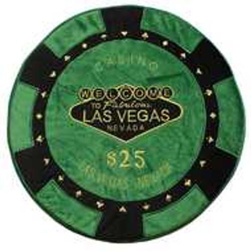 Green - $25 Poker Chip Pillow