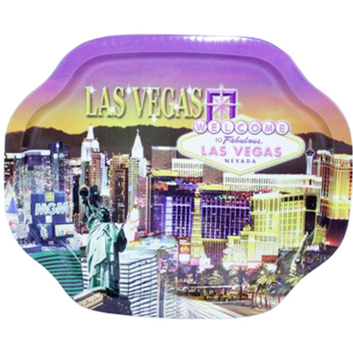 Small colorful Las Vegas Sunset Design Tin Tray.