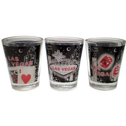 Set of 3 Glass Las Vegas shotglass with a design wrap in the middle which have a Retro Las Vegas Look and Vibe to them. Colors are black, gray, white, and red.