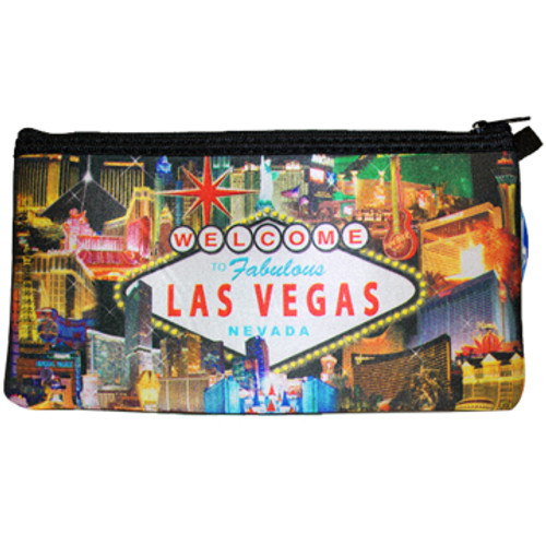 Colorful and Busy Print of Las Vegas Casinos on this zippered Pencil or Cosmetic Carry Case.