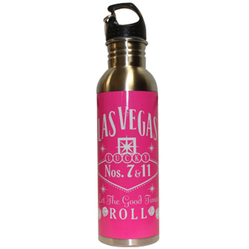 Metal Las Vegas Waterbottle with a Hot Pink Wrap and a  White design. Screw top and carabiner clip.