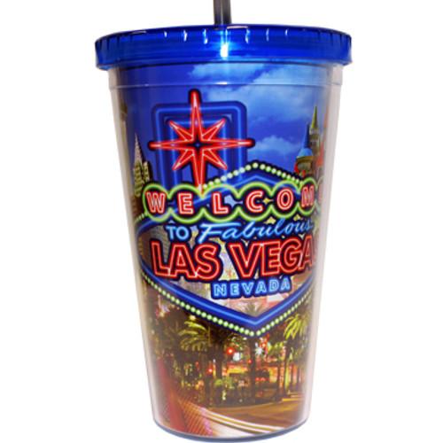 FRONT Las Vegas Neon Sign Plastic Tumbler