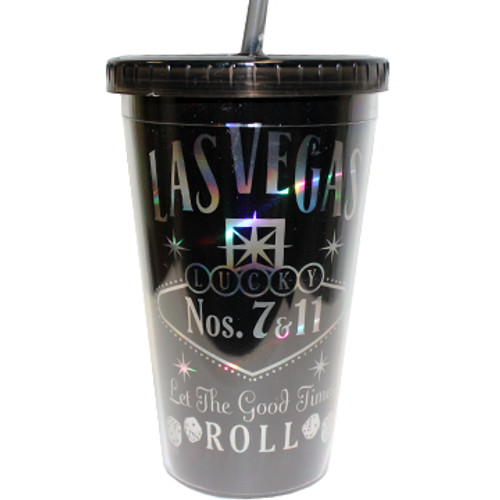 Las Vegas Black Let The Good Times Roll Tumbler with straw.