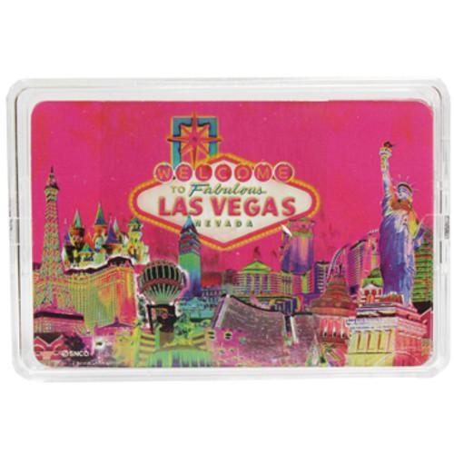 Las Vegas Souvenir Playing Cards- Pink Solar design- clear plastic storage case