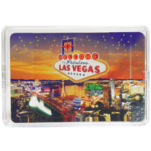 New Playing Cards in a Clear Box for Storage. This deck features our Las Vegas Stars design which shows Vegas Casinos on a colorful Starry Sunset background.