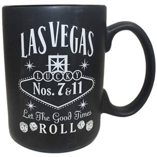 Black ceramic Las Vegas souvenir mug with a Gray design on both sides, right view.