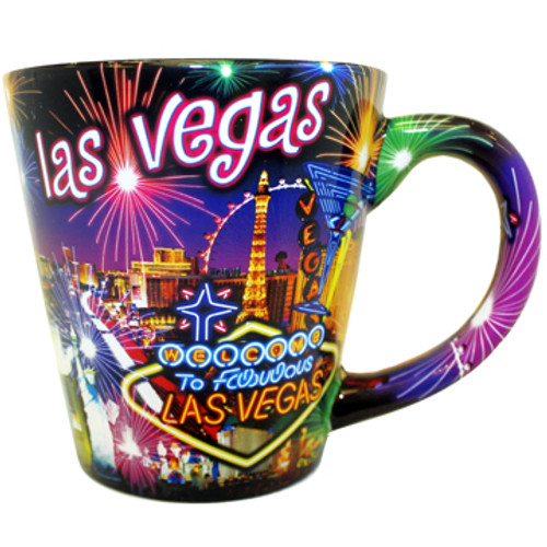 Neon Fireworks Las Vegas Cone Mug