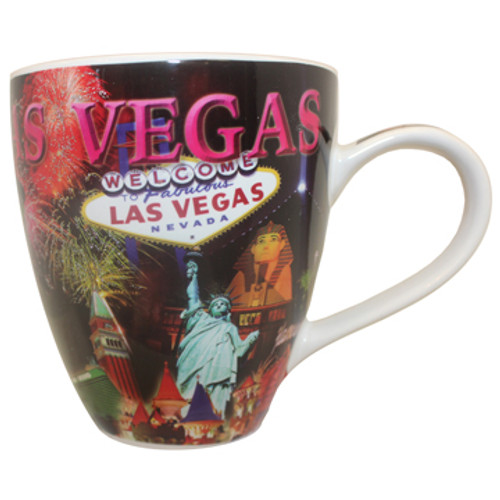 Oversized Las Vegas ceramic coffee mug with a Las Vegas Sign and Fireworks collage design on a vibrant strip background, side view.