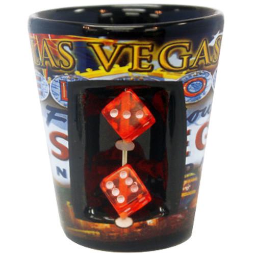 Las Vegas Ceramic Shotglass w/Dice- Flag design