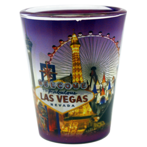 Las Vegas Purple Skyline Shotglass