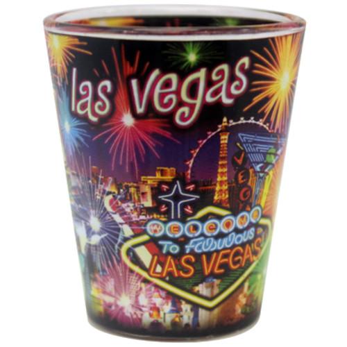 Neon Fireworks Las Vegas Shotglass