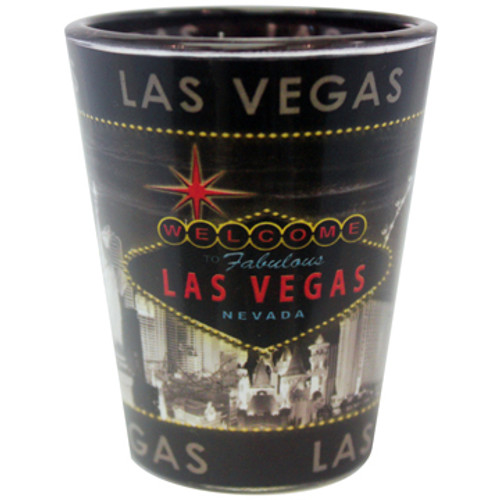 Gray Skyline Las Vegas Shotglass