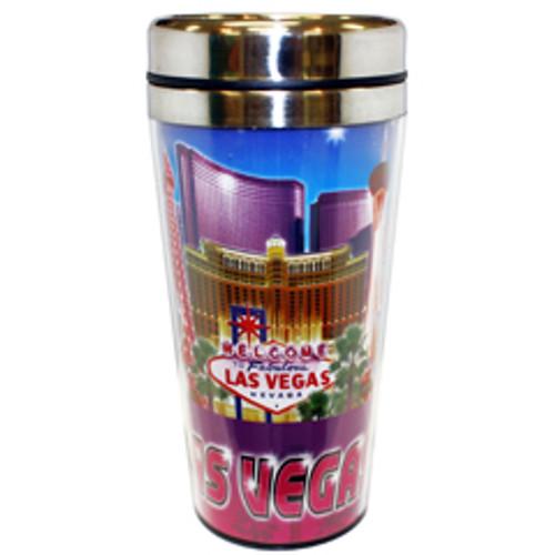 "Las Vegas ""Blue/Purple Collage"" Travel Mug Souvenir- 16oz."