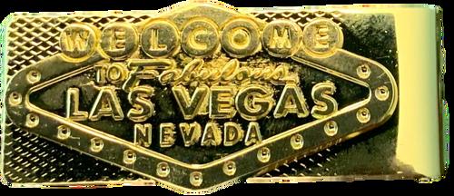 Gold tone color money clip with Las Vegas Sign on it.