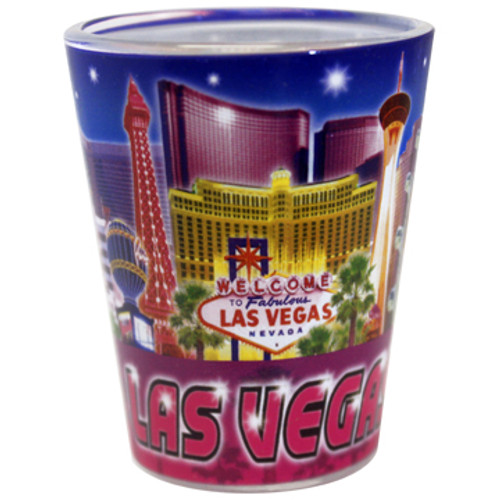 "Las Vegas ""Blue/Purple Collage"" Shotglass"