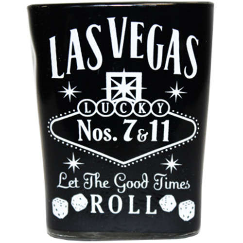 Square Glass Las Vegas shotglass with a full body black wrap background, Las Vegas Let The Good Times Roll in white design on the front.