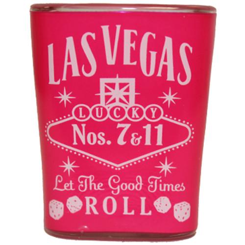 Pink Whisky square Las Vegas Shot glass