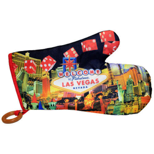 Oven Mitt Souvenir from Las Vegas with a Red Dice print design on it.
