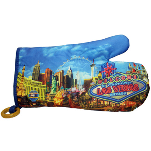 Oven Mitt Souvenir from Las Vegas with a Blue Neon print design on it.