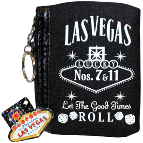 Black cloth coin purse, White print Las Vegas Let the Good Times Roll with dice design, pull ring on the zipper.