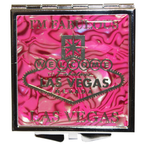 Metal Square shape I'm Fabulous Las Vegas design compact purse mirror in pink hues.