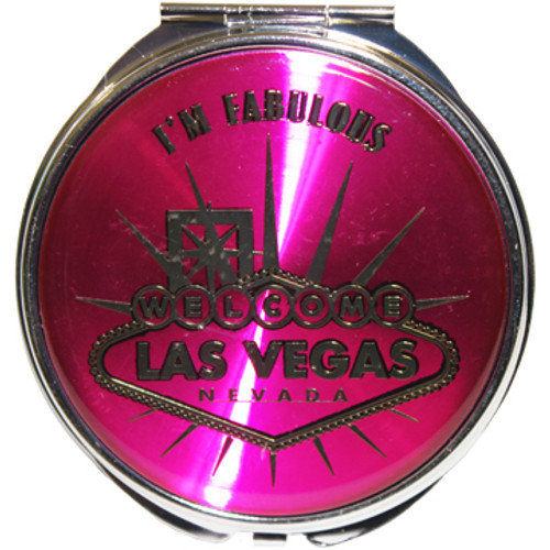Shiny Hot Pink background with Silver inlay I'm Fabulous Las Vegas design compact round mirror.