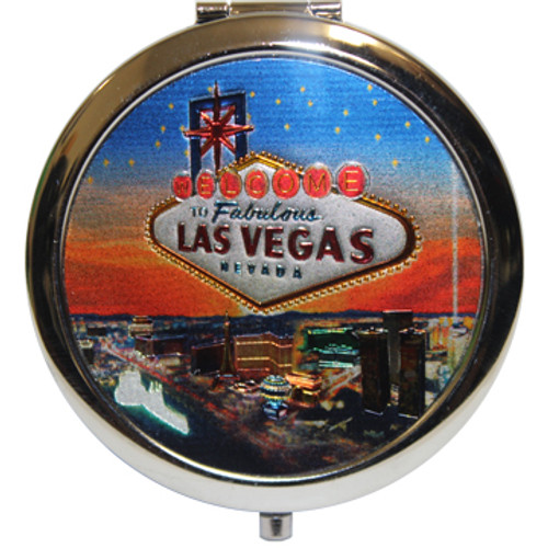 Pretty Stars on a Blue and Orange Hue Sunset Background Las Vegas city compact mirror.