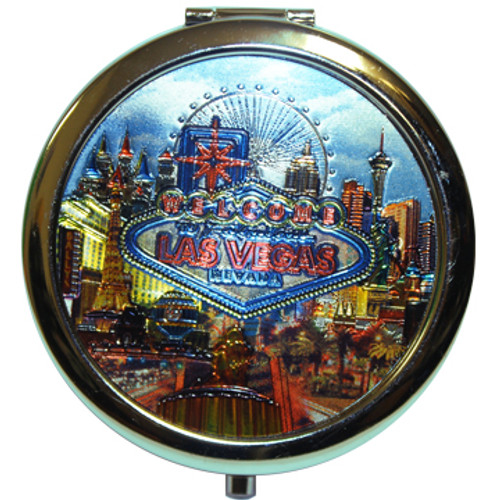 Shiny metallic design of popular Las Vegas casinos in a Neon feel on this round compact mirror.