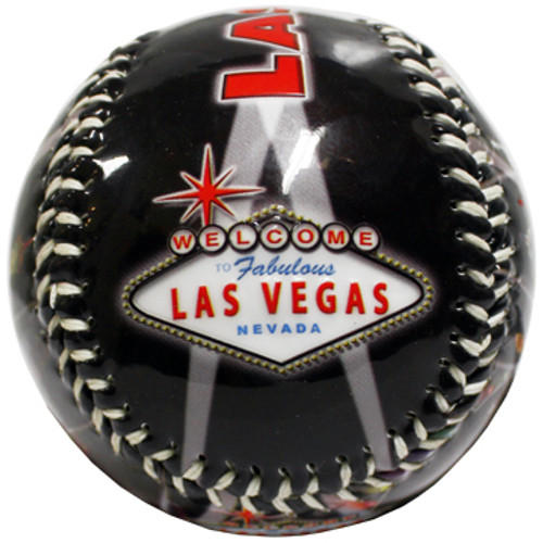 Las Vegas Red Skyline Embossed Baseball