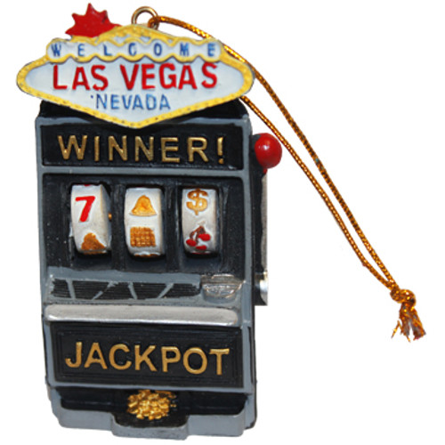 Acrylic Las Vegas Shape Black Slot Machine Holiday Ornament with the Las Vegas Sign on Top.