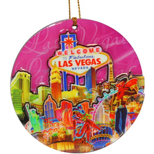 Las Vegas Round Ornament 3-D carved and covered with epoxy, pink background and colorful icons of Vegas.