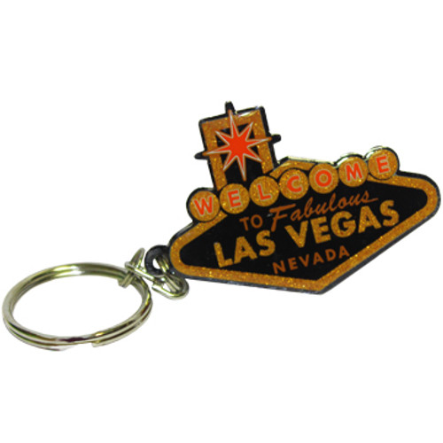 Metal Cutout shape Las Vegas Sign Key Chain in Black and Gold color.