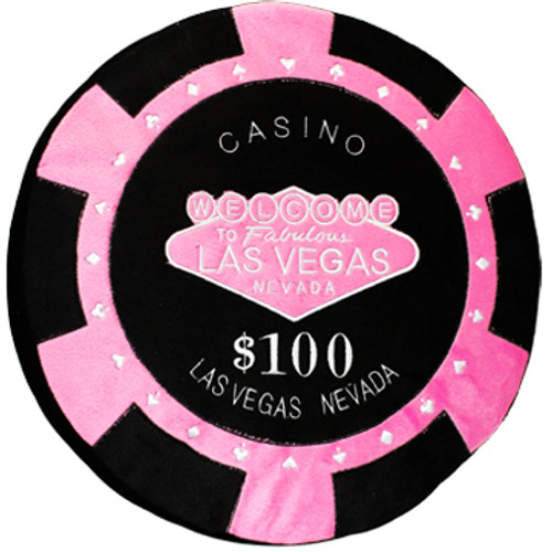 Front of the Round Poker Chip Shape Decorative Pillow in Hot Pink and Black, designed to replicate a  $100 poker chip.