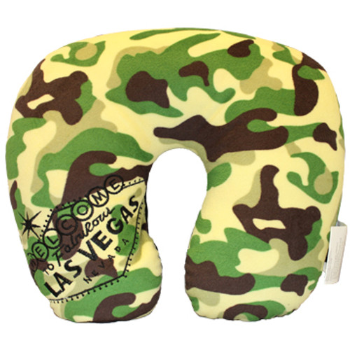 Las Vegas Welcome Sign embroidered on one side of the green camouflaged print neck travel pillow, this is the front side.