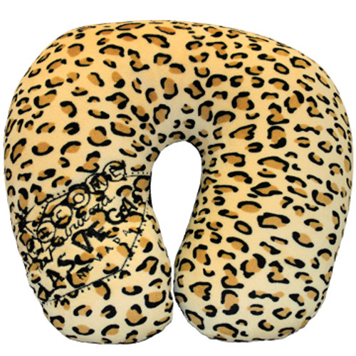 Las Vegas Welcome Sign embroidered on one side of the Leopard Pint neck travel pillow; this is the front side.