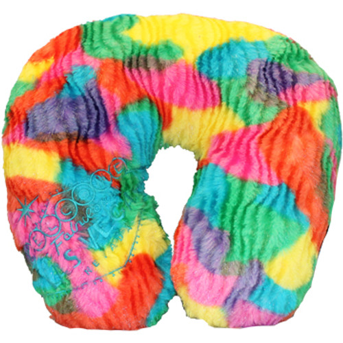 Top side of the Las Vegas Welcome Sign embroidered on one side of this multi colored random blobs neck travel pillow.