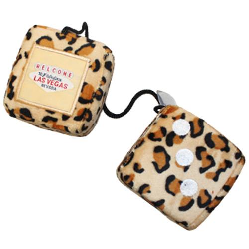 Leopard Print Plush Dice Pair. Las Vegas as the one pip.