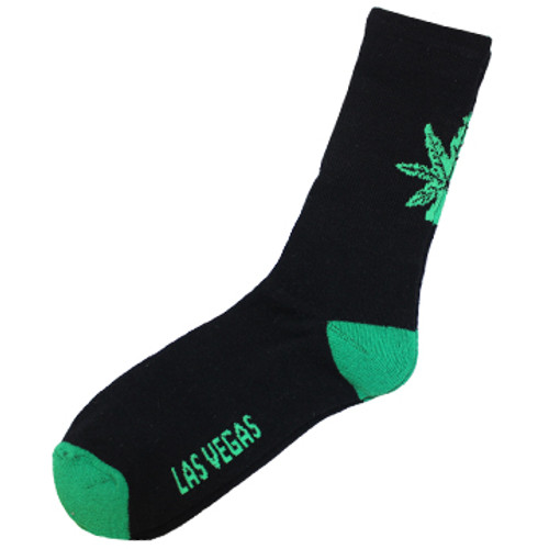 Black sock with green toe and heel; green MJ leaf is on the back of the calf.