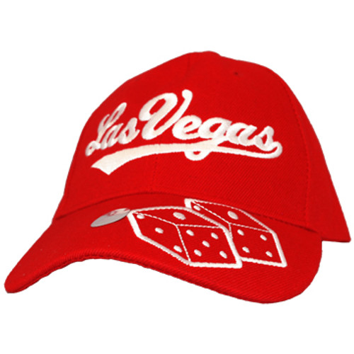 Red cap with red Las Vegas on the crown and Dice icon on the Bill